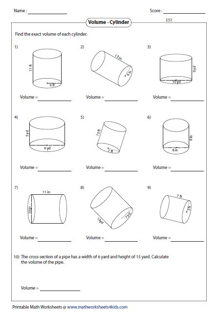 Surface Area And Volume Word Problems Worksheets With Answers