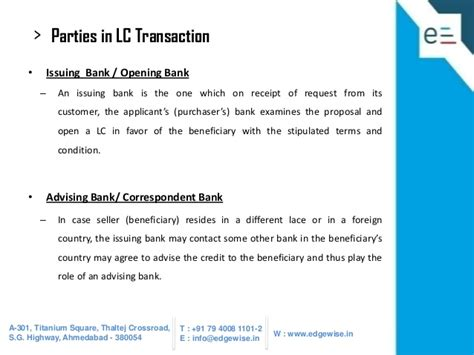 opening a bank account in a foreign country letter of credit lc presentation