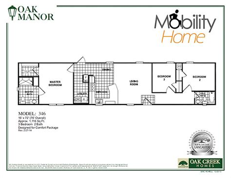 Oak Creek Homes Floor Plans Mobility Homes Ada Friendly Home Designs