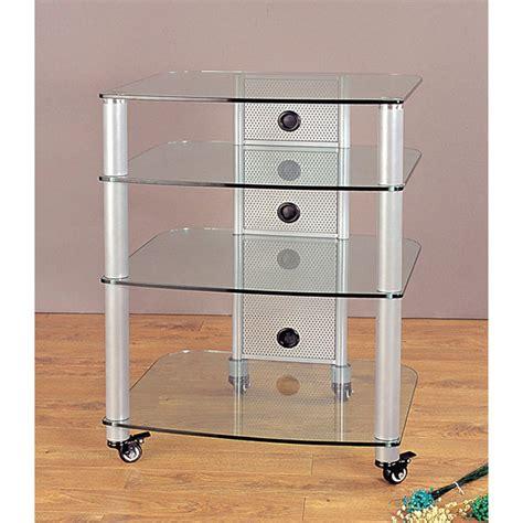 vti rack vti 4 shelf mobile audio rack silver with clear glass ngr404sw
