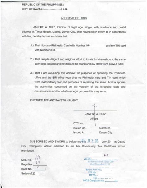 sle id template affidavit of loss sss id template 28 images affidavit