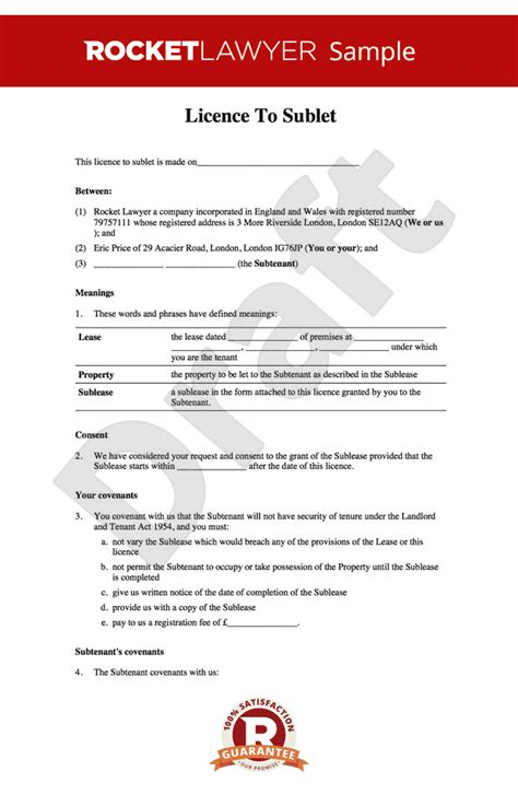 tenancy licence agreement template sublet agreement create a licence to sublet