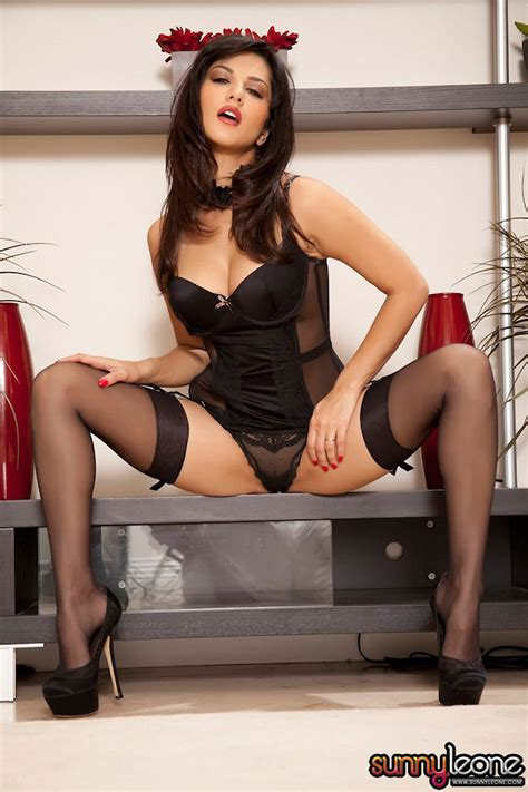 garters and nylons glamourous indian canadian in black