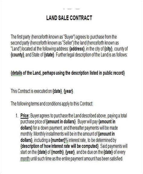 7 Land Contract Templates Exles In Word Pdf Sle Templates Land Sale Agreement Template