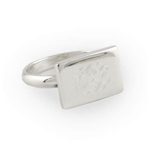 engraved sterling silver rectangular ring