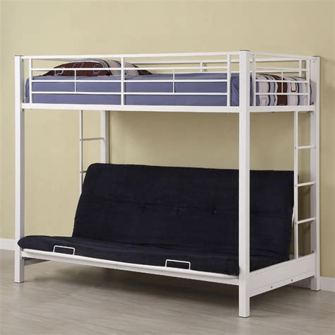 futon bunk bed metal frame walker edison sunrise steel frame bunkbed twin futon white