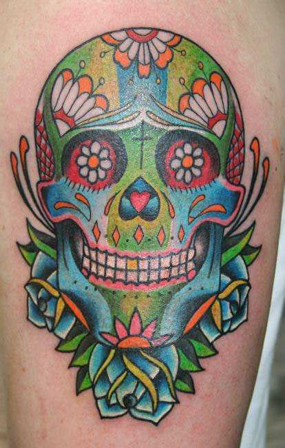 colorful skull tattoo designs celebrate the day of the dead with sugar skull tattoos