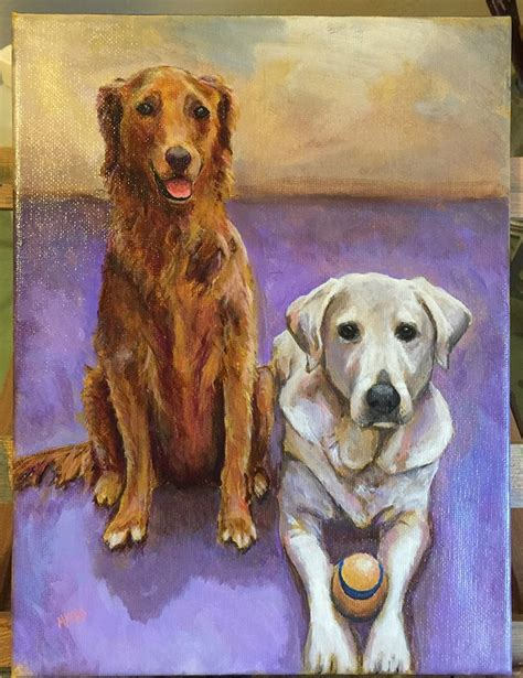 painting golden retriever and white labrador painted together on 9x12 quot canvas