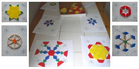 mrs wills kindergarten pattern blocks here s a sle of pattern block snowflakes great idea