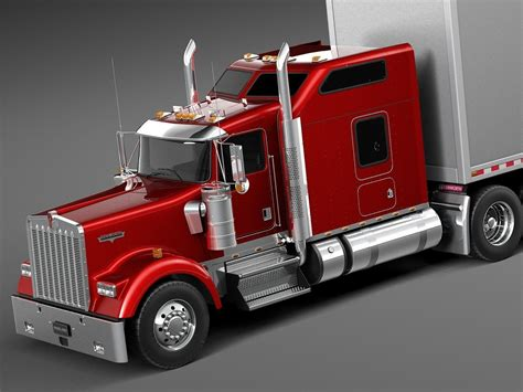 kenworth w900 2014 kenworth w900 sleeper cab trailer 2014 3d model max obj