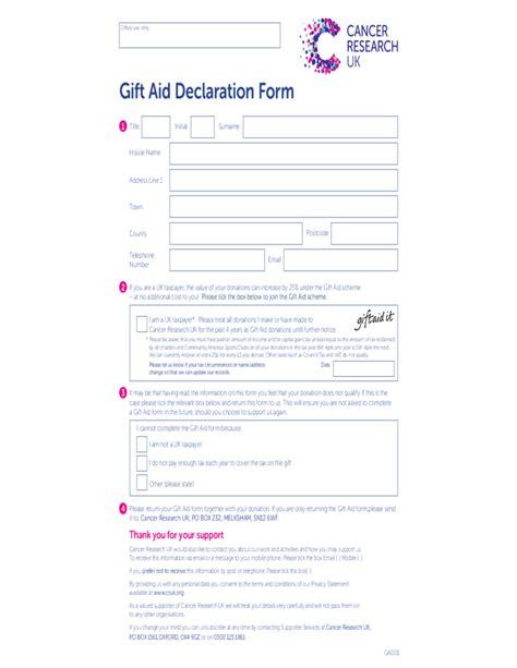 Declaration Of Gift Letter Uk Gift Aid Declaration Form Uk Free