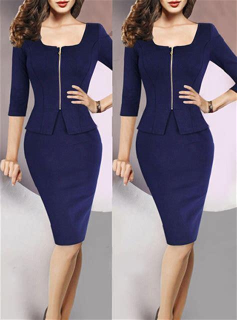 midi dress peplum navy blue sleeve pencil skirt