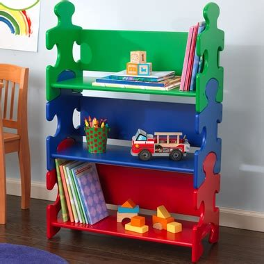 kidkraft primary color puzzle book shelf bookcase