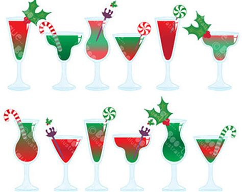christmas cocktails clipart christmas cocktails digital clipart christmas cocktails