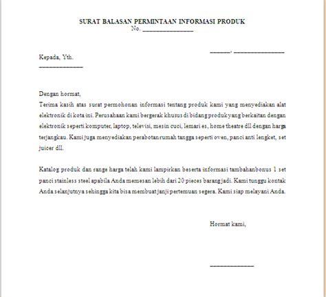 surat balasan permintaan informasi produk