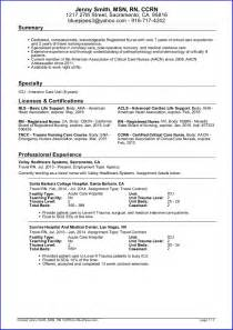 Exles Of Nurses Resumes by Sle Travel Nursing Resume Free Template 187 Bluepipes