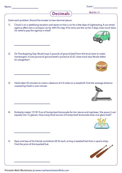 multiplying decimals word problems worksheets