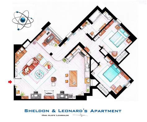 layout of big bang theory apartment detailed floor plans of tv show apartments 171 twistedsifter