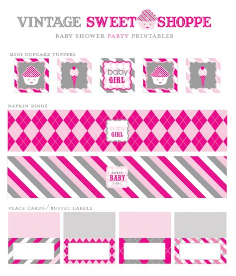free printables for baby shower girl free printables vintage sweet shoppe baby shower pink