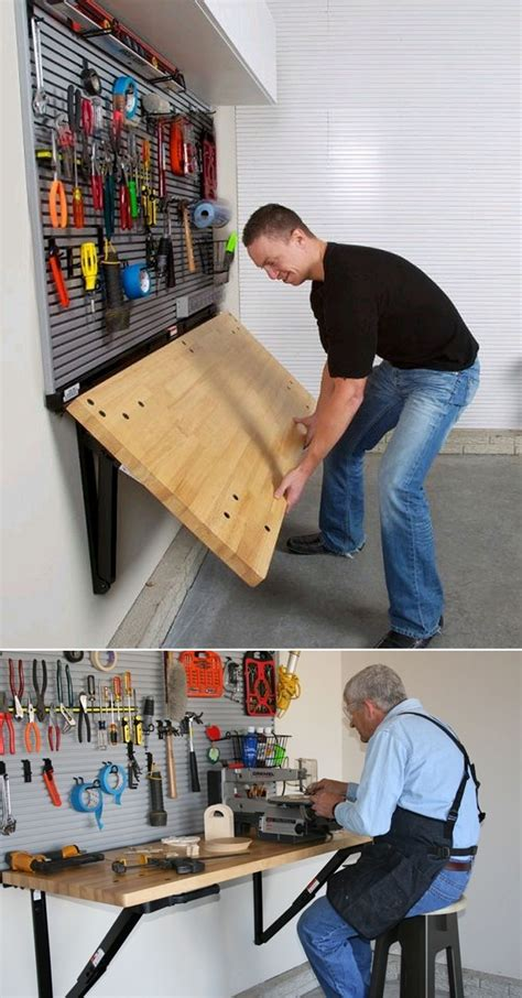 garage work table folding wall mounted workbench by bench solution saves
