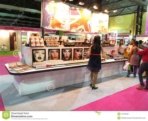 black beauty expo exhibition stand of beauty products editorial stock photo
