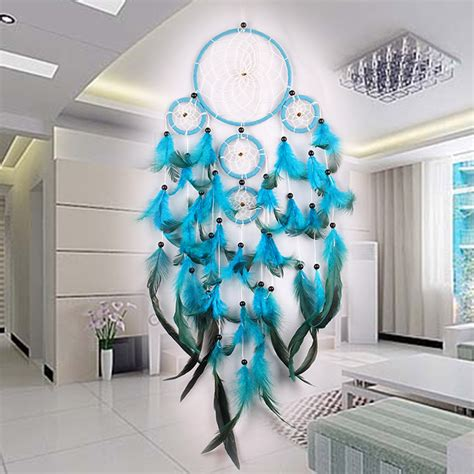 hanging decorations for home handmade blue white fluff dream catcher 5 rings net wall