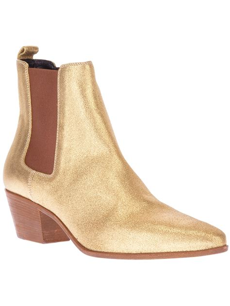 laurent chelsea ankle boot in gold lyst