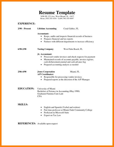 simple sle of resume how to type a resume