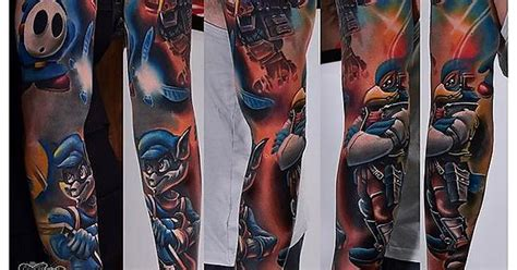 sly cooper tattoo my 2 1 2 gaming project done by tomasz tofi