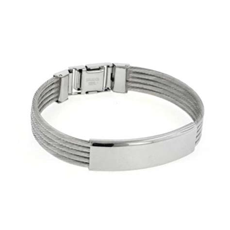 Nautical Theme Wedding - mens stainless steel cable bangle id bracelet 8 inch