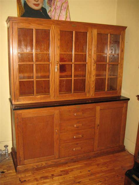 antique oak school cabinet step  cupboard china