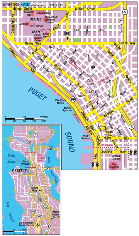 seattle map of usa map of seattle united states map in the atlas of the