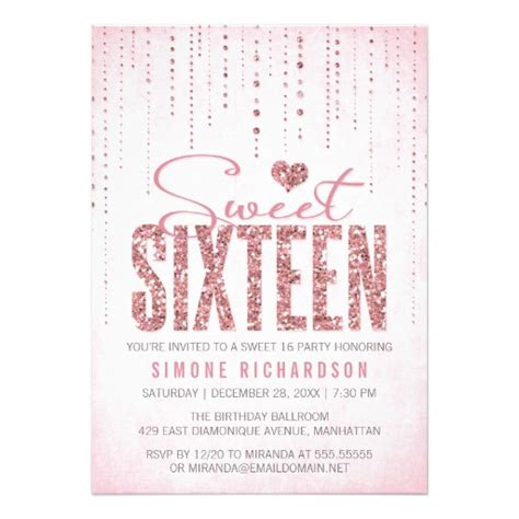 sweet 16 invitation template glitter look sweet 16 sixteen personalized invite
