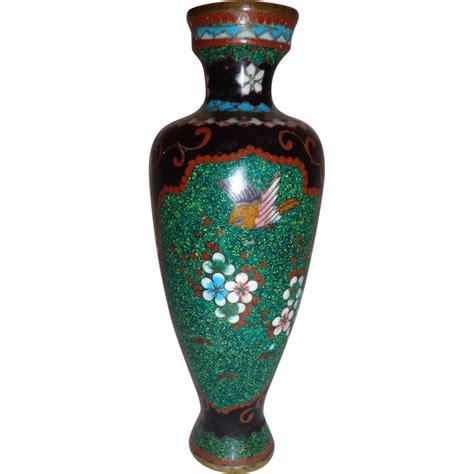 Hummingbird Vase by Spectacular Meiji Period Chleve Cloisonne Bud Vase