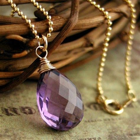 aaa purple amethyst briolette solitaire necklace in