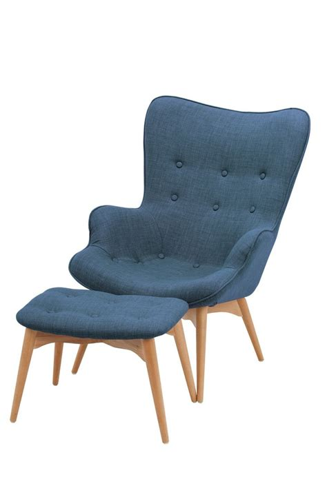 navy chair and ottoman replica featherston chair and ottoman navy blue linen