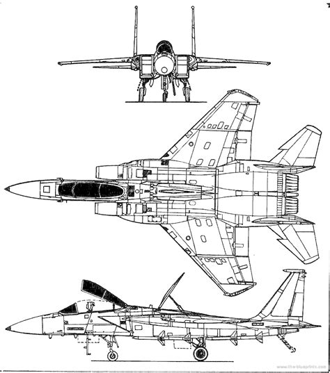 F Drawings Blueprints by Mcdonnell Douglas F 15