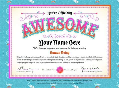 hahaha certificate for team awesome creative ideas for