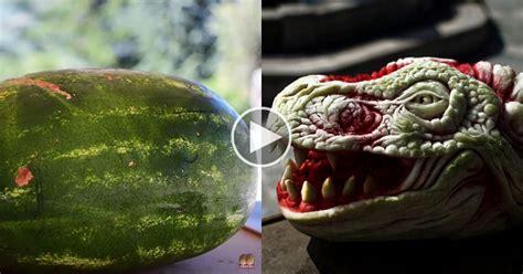 artist transforms watermelon  dragons head