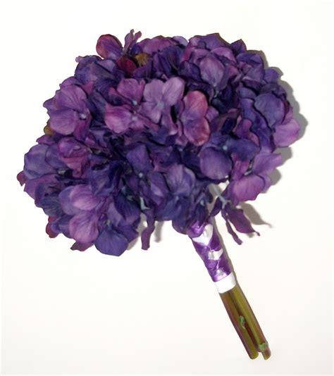 true touch hydrangea wedding bouquet purple hydrangea
