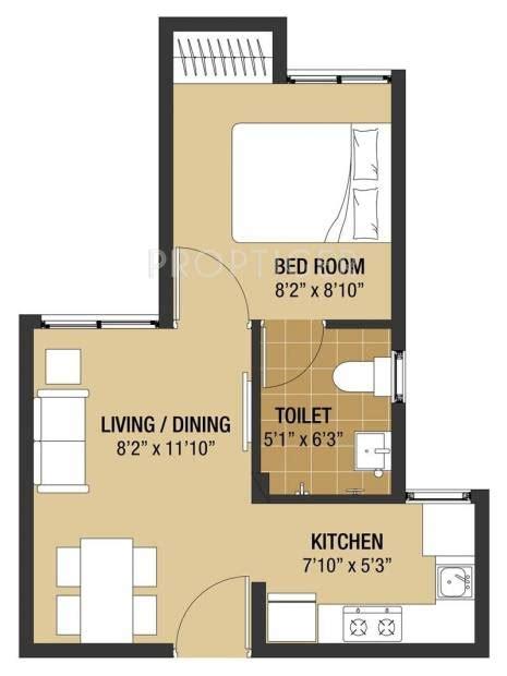 Plan Image 375 sq ft 1 bhk floor plan image arun excello compact