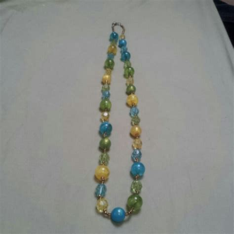 blue and green beaded necklace 67 jewelry blue yellow and green beaded necklace