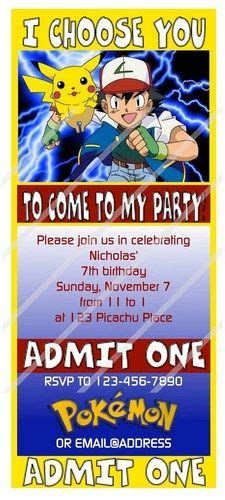 Birthday Party  Ee  Invitations Ee   Party  Ee  Invitations Ee   And Pokemon
