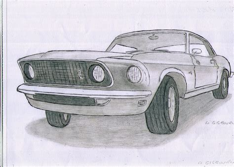 old cars drawings ink and pencil drawing of a 1965 ford mustang classic