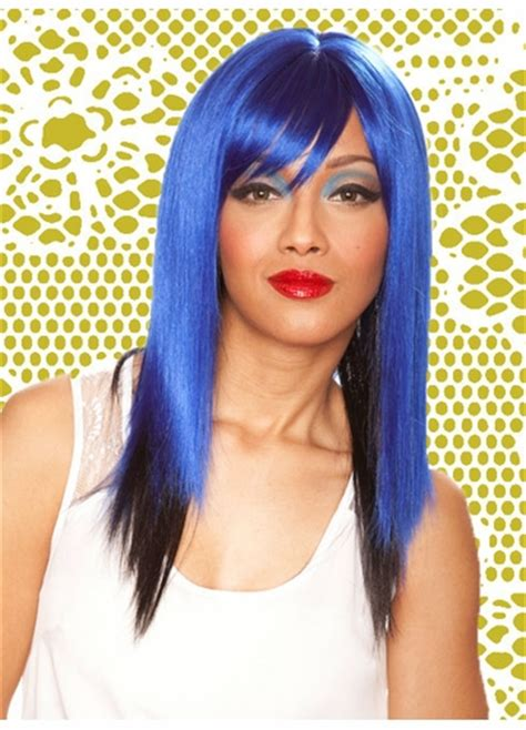 Blus Two Tone Side two tone blue black layered wig with side swept bangs