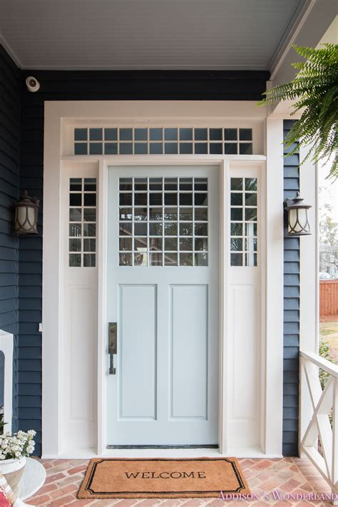 our beautiful new light blue front door paint color w ace