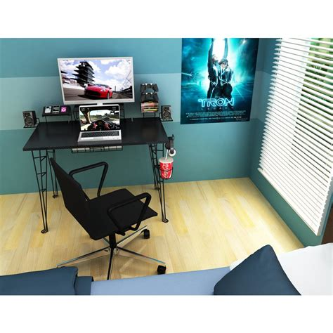 atlantic black gaming desk 33935701 the home depot