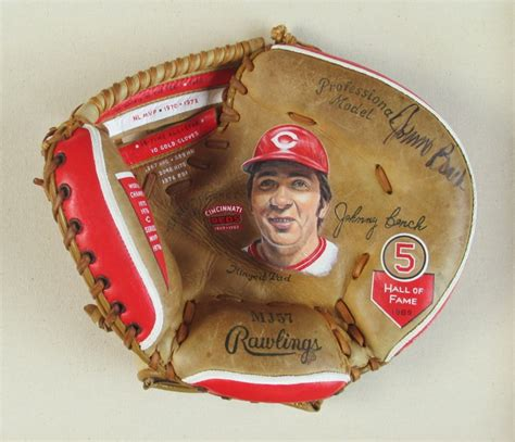 johnny bench catchers mitt autographed johnny bench baseball glove art sean kane