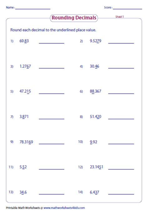 Rounding Decimals Worksheet With Answers by Rounding Decimals Worksheets