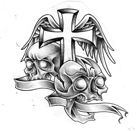 cross and skull tattoo gallery for gt skulls and crosses drawings